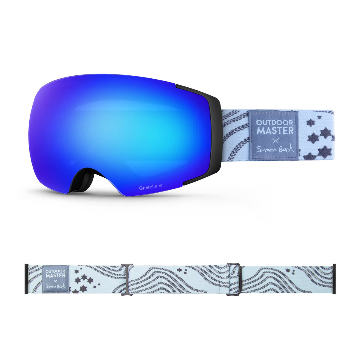 OutdoorMaster x Simon Beck Ski Goggles Pro Series - Snowshoeing Art Limited Edition OutdoorMaster GreenLens VLT 15% TAC Grey with REVO Blue Polarized Star Road-Lightsteelblue