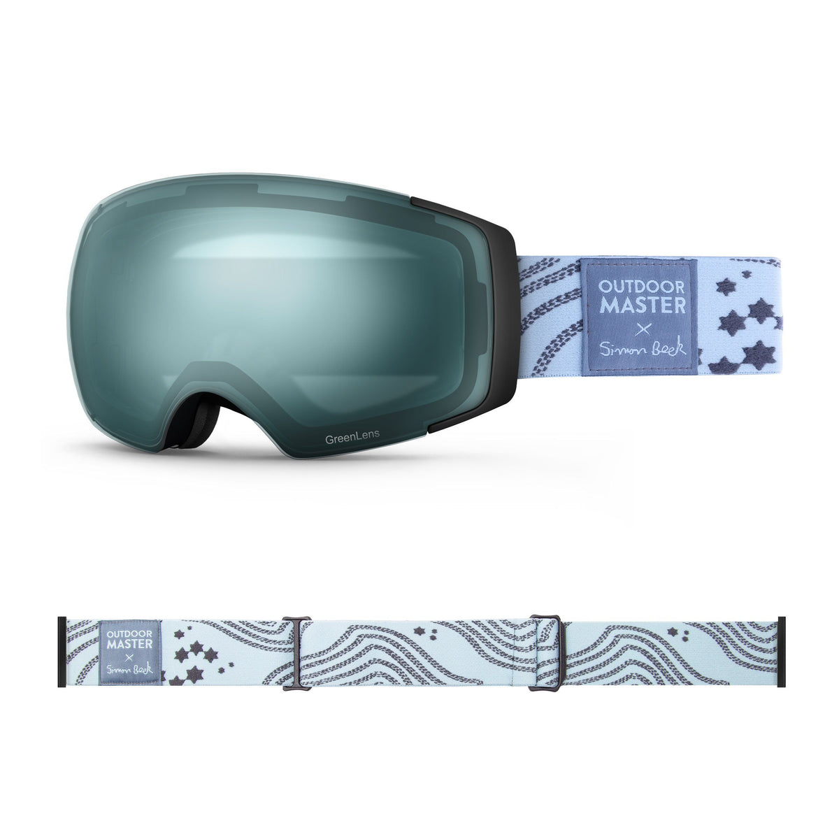 OutdoorMaster x Simon Beck Ski Goggles Pro Series - Snowshoeing Art Limited Edition OutdoorMaster GreenLens VLT 20% TAC Green Polarized Star Road-Lightsteelblue