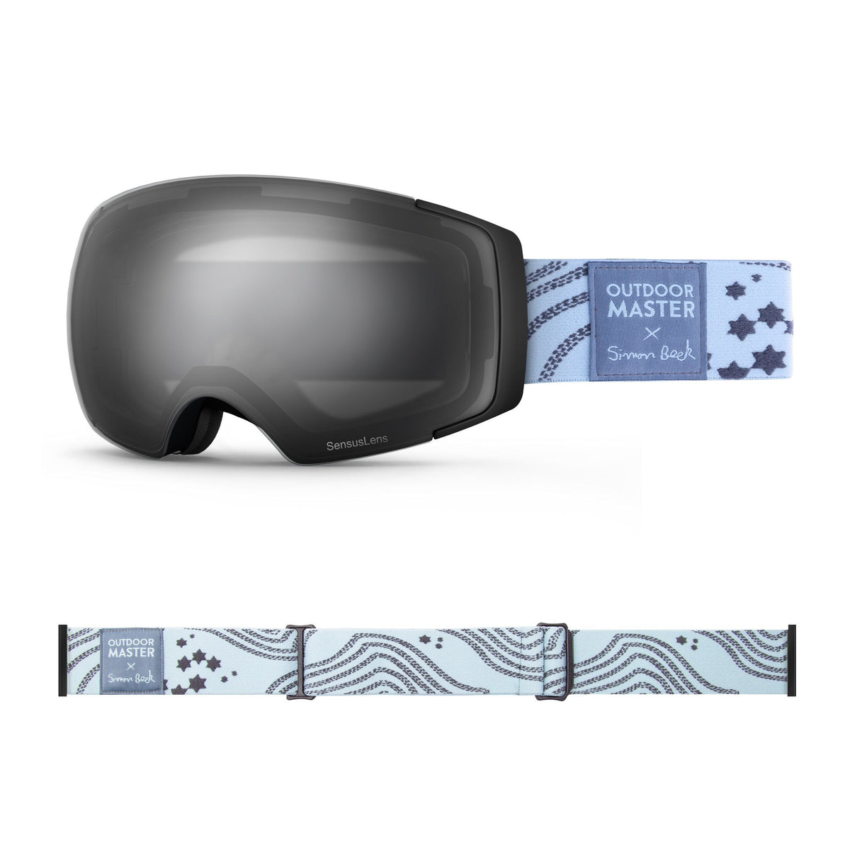 OutdoorMaster x Simon Beck Ski Goggles Pro Series - Snowshoeing Art Limited Edition OutdoorMaster GreenLens VLT 10% TAC Grey With REVO Silver Polarized Star Road-Lightsteelblue