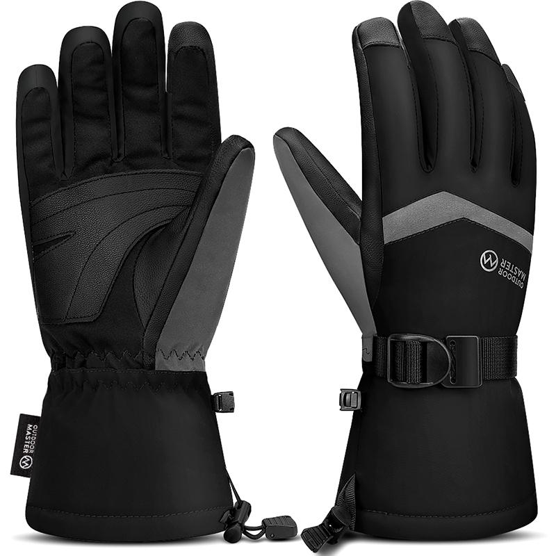 ADULT SKI GLOVES – 3M Thinsulate Touchscreen Gloves for skiing, fishing and outdoor working OutdoorMaster M Plain Black