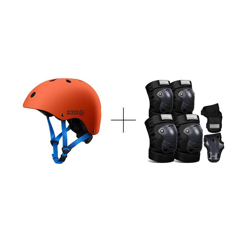 SPRING BUNDLE SALES - KIDS SKATEBOARD HELMET AND GEARS Bundle OutdoorMaster Black & Orange S S