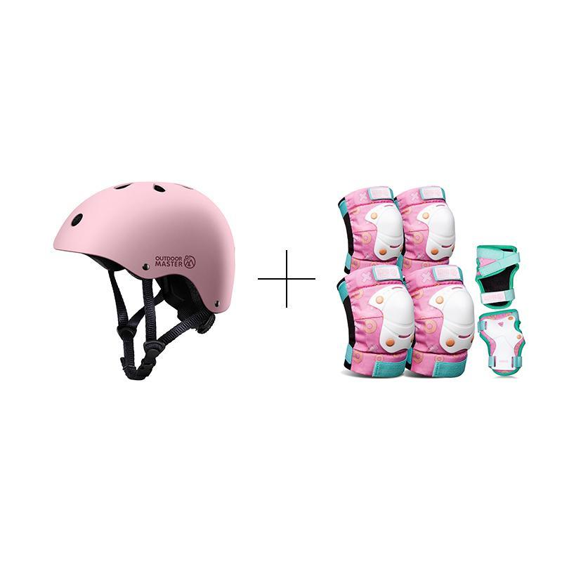 SPRING BUNDLE SALES - KIDS SKATEBOARD HELMET AND GEARS Bundle OutdoorMaster Pink Combo S S