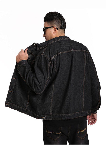 Veste en jean noir homme large new school