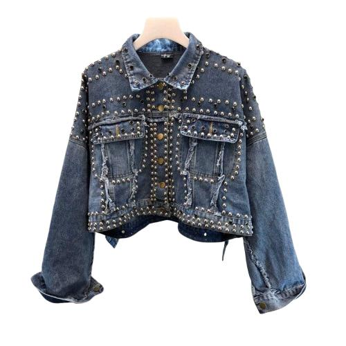 Veste en jean femme crop top clouté far west