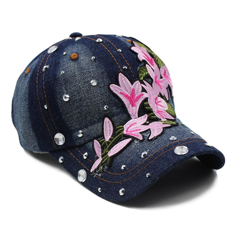miaoxi Women New Hat Summer Floral Girl Baseball Caps For Female Adult Cotton Cap Fashion High Quality Denim Jeans Bonnet Sale