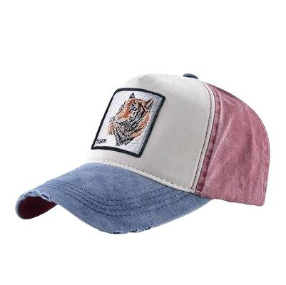 Casquette homme jean baseball brodée tigre rouge