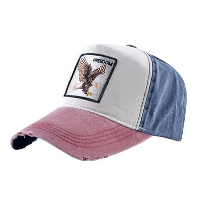 Casquette homme jean baseball brodée aigle rouge