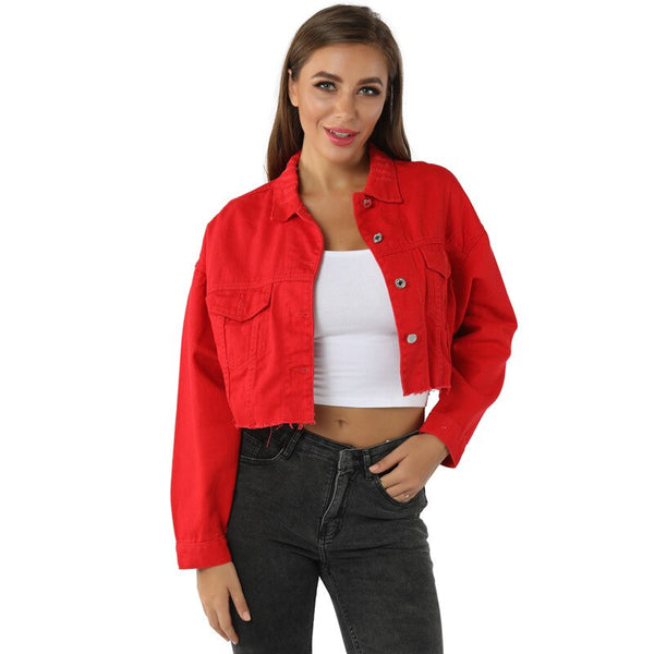 Veste en jean femme rouge crop top effiloché