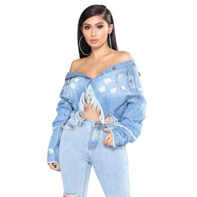 Veste en jean bleu crop top effiloché