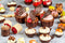 A selection of chocolate cups by Confiletas and chocolate decor by Barbara Decor in a variety of shapes and colours.