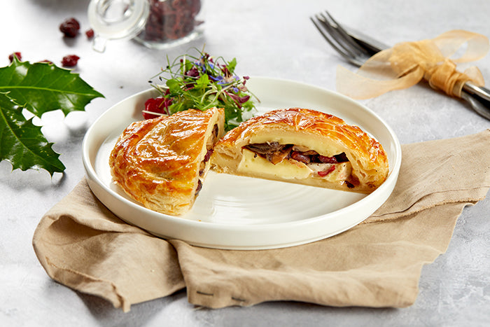 A dish showing Cranberry, mushroom and brie pithivier puff pastry tart