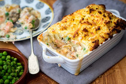 Fish Pie with a smoked cheese potato crust