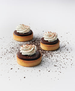 Three layered chocolate tarts