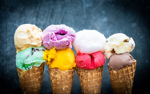 A selection of gelato in cones