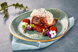 Earthy venison with a light gin foam
