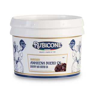 Rubicone | Amarena - Sour cherry natural flavour rippling sauce (variegato) with both whole and pieces of cherry | 3kg
