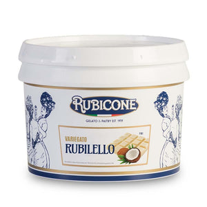 Rubicone | Rubilello | White chocolate, coconut and hazelnut flavour rippling sauce, with hazelnut pieces (variegato) | 3kg