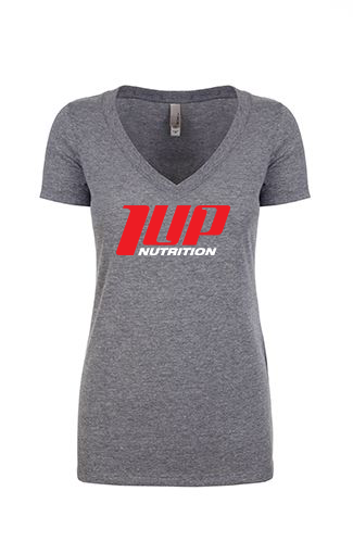 1UP Nutrition Women's Gray Deep V-neck