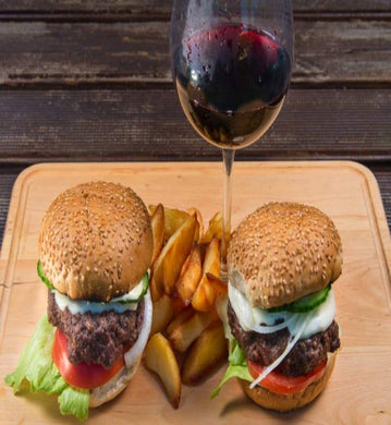 burgers fries and red wine