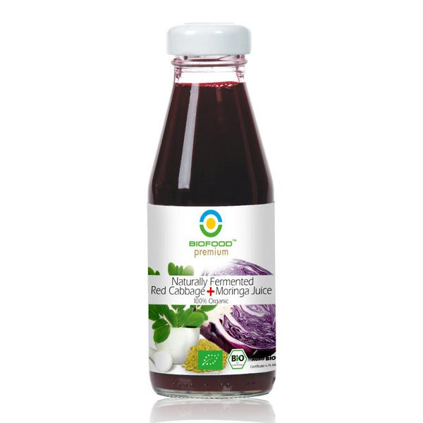 Naturally Fermented Red Cabbage + Moringa Juice