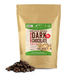 Organic Dark Chocolate Couverture Drops 55% Cacao 300g