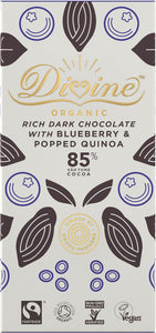Organic Dark 85% Chocolate With Quinoa & Blueberry