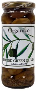 Organic Pitted Green Olives In Brine And Herbs