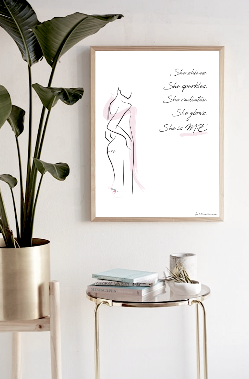 She is me radiance graphic female line print in frame above table