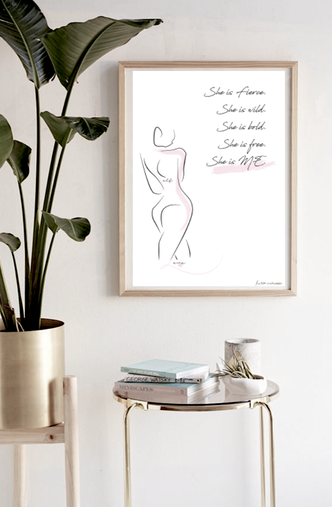 She is me freedom graphic female line print in frame above table