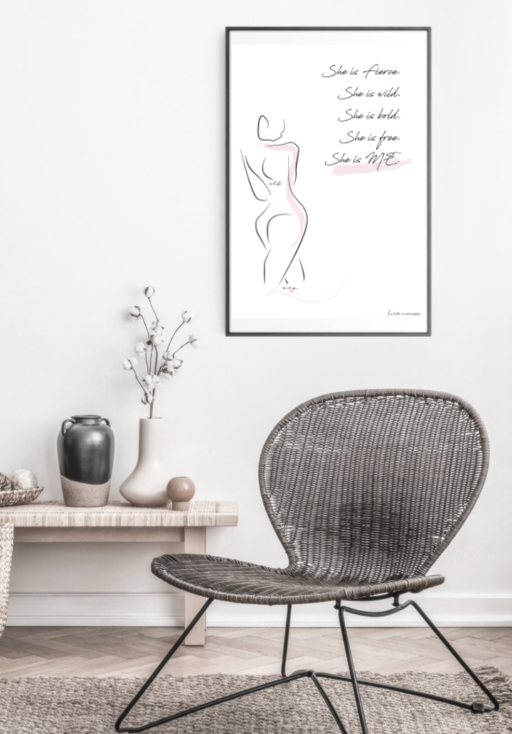 She is me freedom graphic female line print in frame