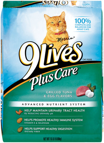 9 Lives Plus Care Formula Dry Cat Food 12Lb. - For Paw Sakes