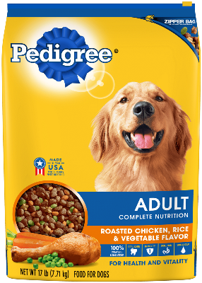 Pedigree Adult Complete Nutrition Roasted Chicken, Rice and Vegetable Flavor Dry Dog Food 17Lbs.