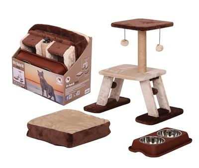 PetPals Group KITTY STARTER KIT - Brown Bed, Water Dish, Cat Tree