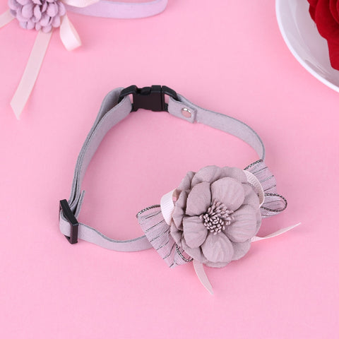 1Pc Adjustable Dog Collar with Bowknot Flower - For Paw Sakes