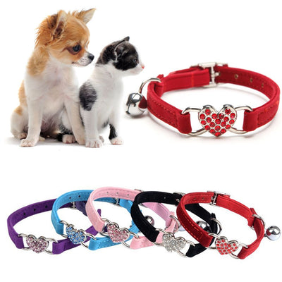 1Pc Puppy Elastic Bell Heart Shape Pet Collar - For Paw Sakes