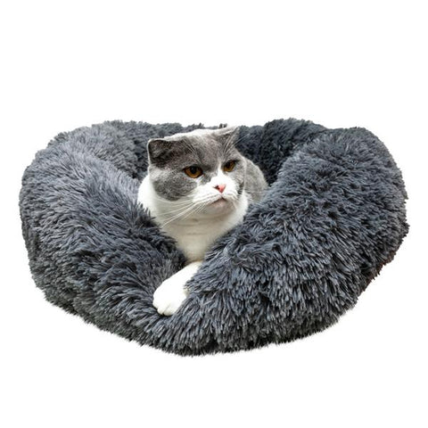 Round Plush Cozy Calming Bed