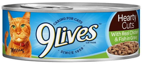 9 Lives Hearty Cuts with Real Chicken and Fish in Gravy Canned Cat Food - For Paw Sakes