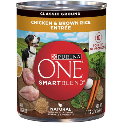 Purina One Classic Ground Wholesome Chicken & Brown Rice Canned Dog Food 13 Oz. 12 Pack