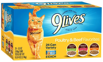 9 Lives  Poultry and Beef Favorites Variety Pack Canned Cat Food - For Paw Sakes