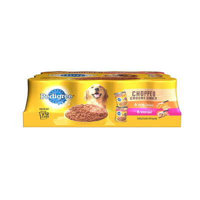 Pedigree Chopped Ground Dinner Multipack with Chicken and Beef Canned Dog Food 13.2OZ  12 Pack