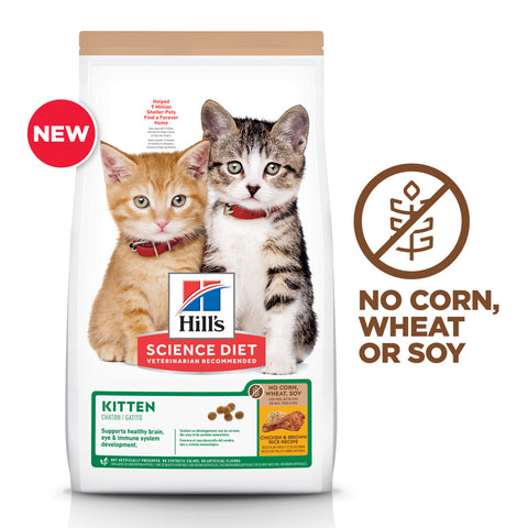 Hill's Science Diet No Corn, Wheat, or Soy Chicken Kitten Dry Cat Food 6 Lb.