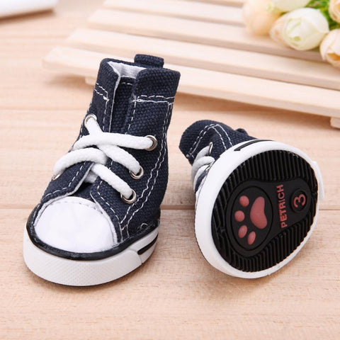 4pcs Denim Pet Dog Shoes Anti slip Waterproof Sporty Sneakers Booties