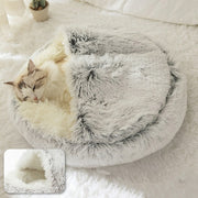 Round Hooded Plush Snuggle Bed