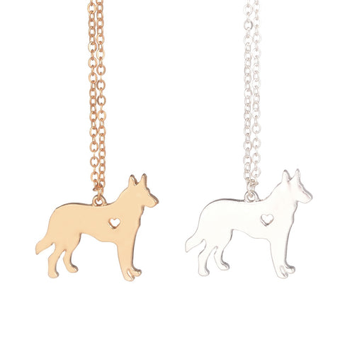 Gold & silver German Shepherd Necklace Dog Jewelry