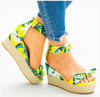 Yellow Floral Espadrille Wedge