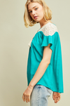 Aqua Boho Chic Lace Shoulder Blouse
