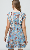 Dusty Blue Floral and Lace Dress