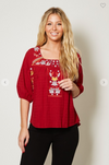 Square Neck Embroidered Top - 100% Cotton!