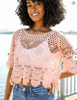 Crochet Short Sleeve Crop Top