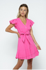 Pink Flutter Sleeve Dress